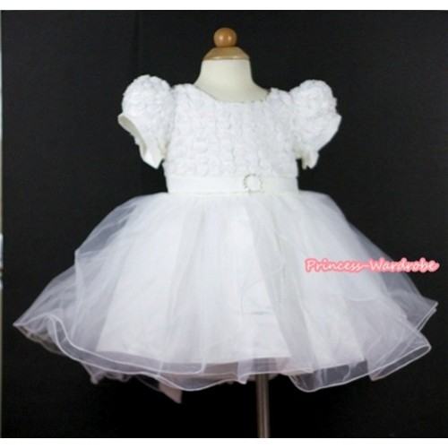 White Rosettes Wedding Party Dress PD026
