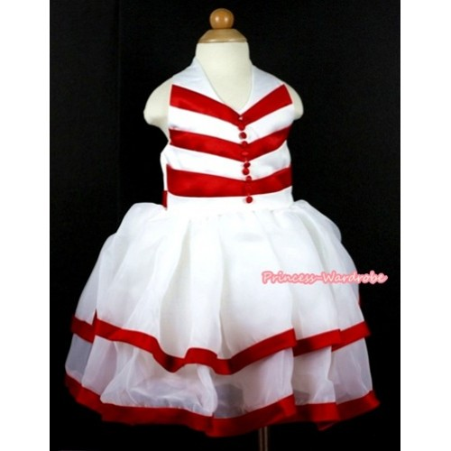 Red White Striped Chiffon Wedding Party Dress PD027