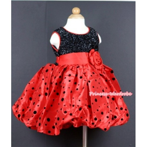 Red Rose Waist, Red Black Polka Dots Wedding Party Dress PD028