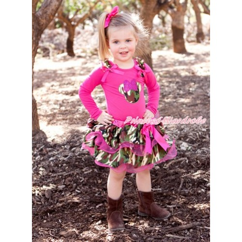 Hot Pink Bow Hot Pink Camouflage Petal Pettiskirt with Matching Hot Pink Long Sleeve Top with Camouflage Ruffles & Hot Pink Bow & Sparkle Hot Pink Camouflage Minnie Print MW361