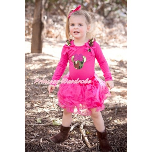 Hot Pink Bow Hot Pink Petal Pettiskirt with Matching Hot Pink Long Sleeve Top with Camouflage Ruffles & Hot Pink Bow & Sparkle Hot Pink Camouflage Minnie Print MW362