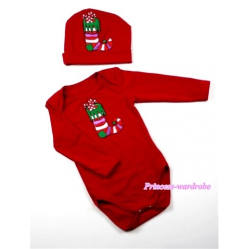Red Long Sleeve Baby Jumpsuit with Christmas Stocking Print with Cap Set LS58