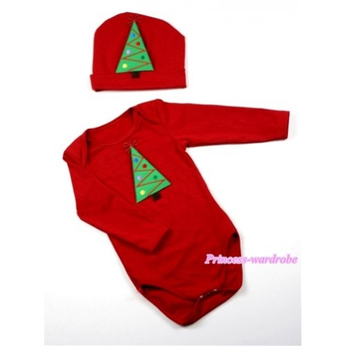 Hot Red Long Sleeve Baby Jumpsuit with Christmas Tree Print with Cap Set LS60