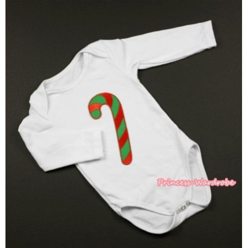 White Long Sleeve Baby Jumpsuit with Christmas Stick Print LS206
