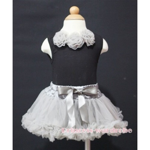Black Newborn Pettitop & Grey Rosettes with Grey Newborn Pettiskirt NG192