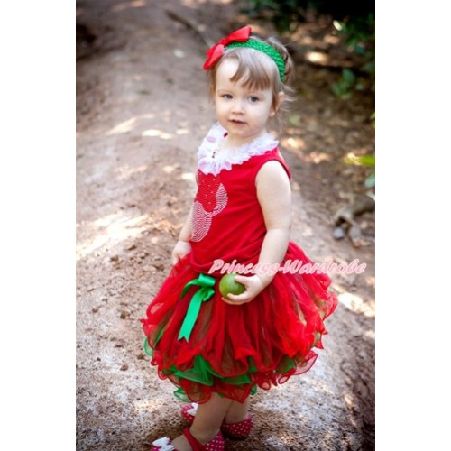 Xmas Red Baby Pettitop with Sparkle Crystal Bling Red Minnie Print with White Chiffon Lacing with Kelly Green Bow Red Green Petal Newborn Pettiskirt NG1283
