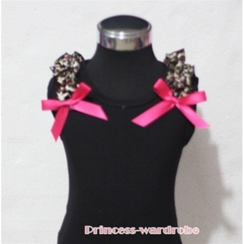Black Tank Top with Hot Pink Ribbon and Hot Pink Leopard ruffles T304