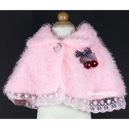 Light Pink Soft Fur with Cherry Shawl Coat SH31