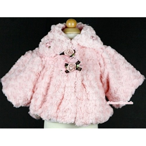Light Pink Soft Fur with Rose Bow Shawl Coat SH32
