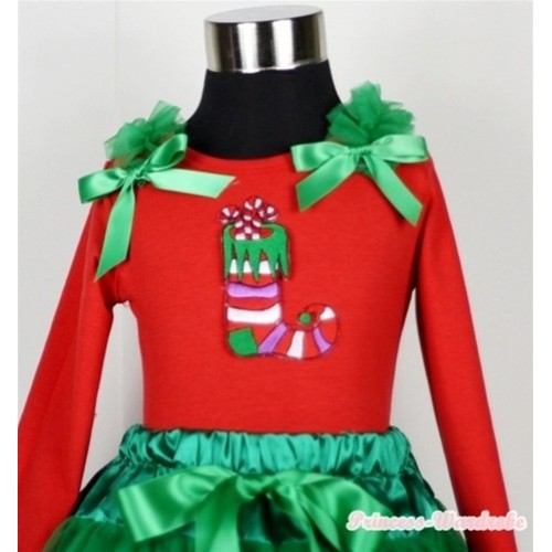 Christmas Stocking Print Red Long Sleeves Top with Kelly Green Ruffles & Kelly Green Bow TW302