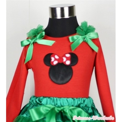 Minnie Print Red Long Sleeves Top with Kelly Green Ruffles & Kelly Green Bow TW305