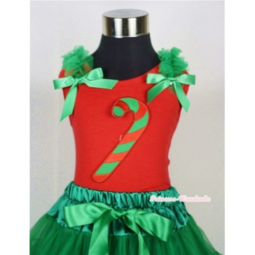 Christmas Stick Print Red Tank Top with Kelly Green Ruffles and Kelly Green Bow T600