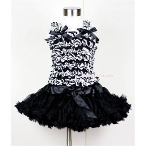 Black Pettiskirt with Zebra Print Ruffles Tank Top With Black Bow MR207