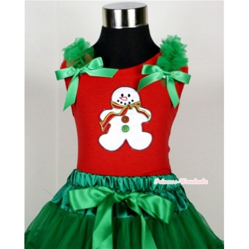 Christmas Gingerbread Snowman Print Red Tank Top with Kelly Green Ruffles and Kelly Green Bow T607