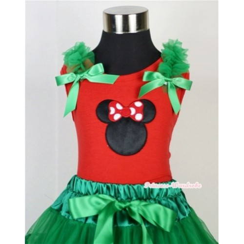 Minnie Print Red Tank Top with Kelly Green Ruffles and Kelly Green Bow T608