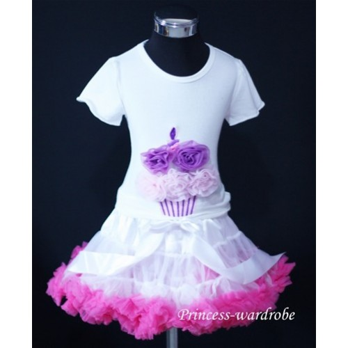 White Hot Pink Pettiskirt With White Birthday Cake Tank Top with Dark Purple Light Pink Rosettes T48
