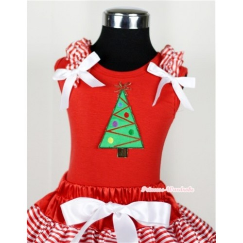 Christmas Tree Print Red Tank Top with Red White Striped Ruffles and White Bow T611