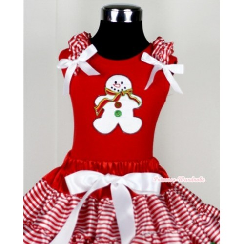 Christmas Gingerbread Snowman Print Red Tank Top with Red White Striped Ruffles and White Bow T613