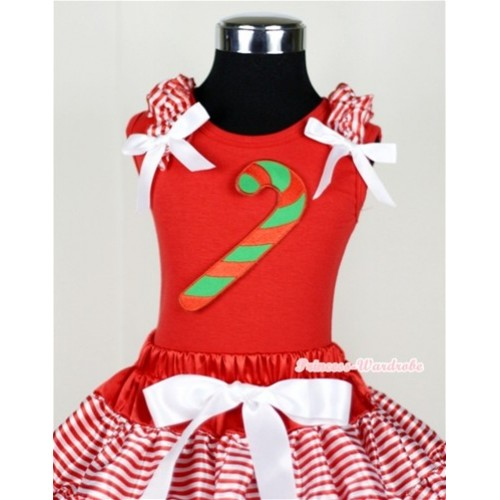Christmas Stick Print Red Tank Top with Red White Striped Ruffles and White Bow T614