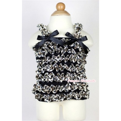 Black Leopard Ruffles Tank Top with Black Bow Ribbon NR21