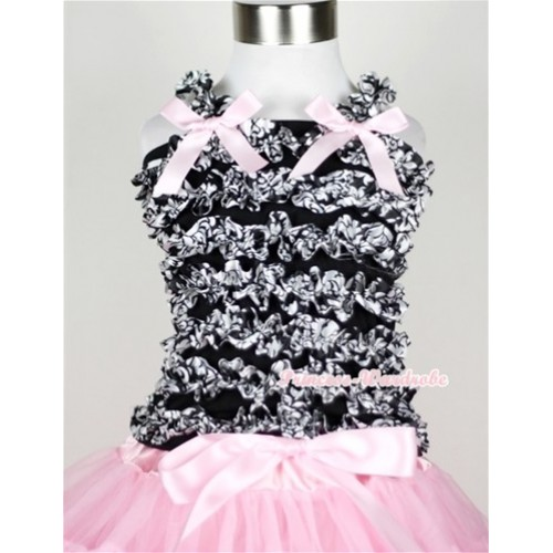 Black Damask Ruffles Tank Top with Light Pink Bow Ribbon NR25