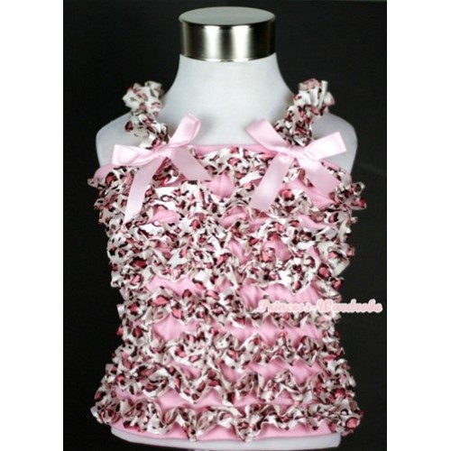 Light Pink Leopard Ruffles Tank Top with Light Pink Bow Ribbon NR26
