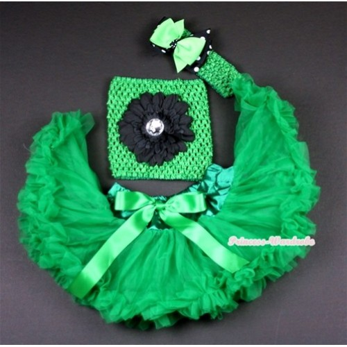 Kelly Green Baby Pettiskirt, Black Flower and Green Crochet Tube Top,Green Headband with Green & Black White Polka Dots Bow 3PC Set CT480
