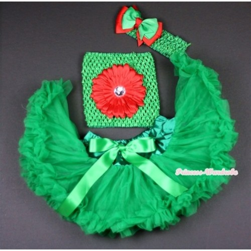 Kelly Green Baby Pettiskirt, Red Flower and Green Crochet Tube Top,Green Headband with Green & Red Bow 3PC Set CT481