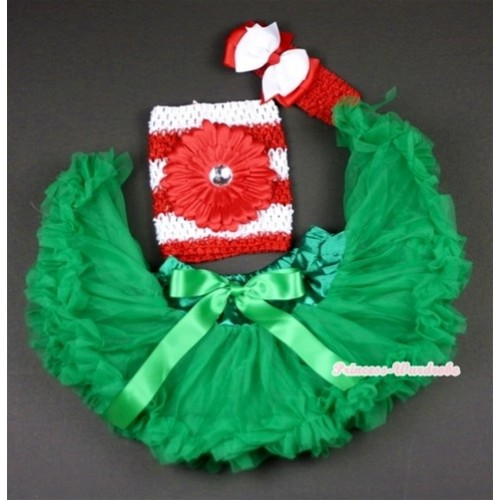 Kelly Green Baby Pettiskirt, Red Flower and Red White Striped Crochet Tube Top,Red Headband with Red White Bow 3PC Set CT482