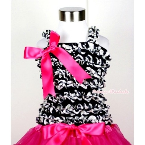 Black Zebra Ruffles Tank Top with Hot Pink Big Bow Ribbon NR30