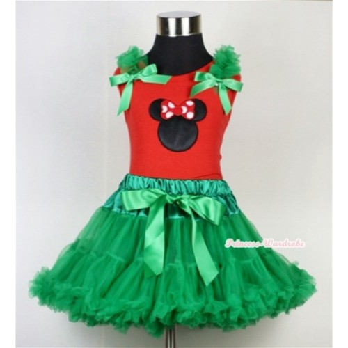 Kelly Green Pettiskirt & Minnie Print Red Tank Top with Kelly Green Ruffles and Bow CM113