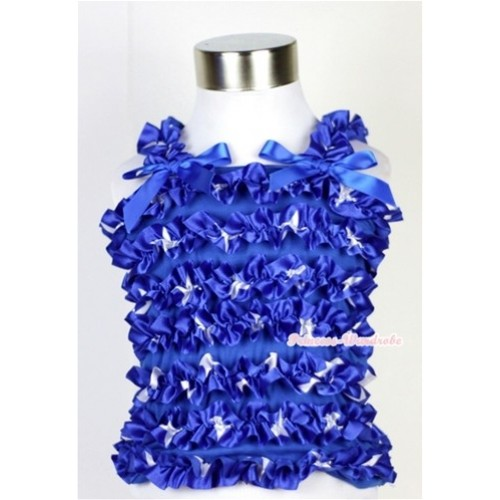 American Style Star Ruffles Baby Tank Top with Royal Blue Bow Ribbon RT13