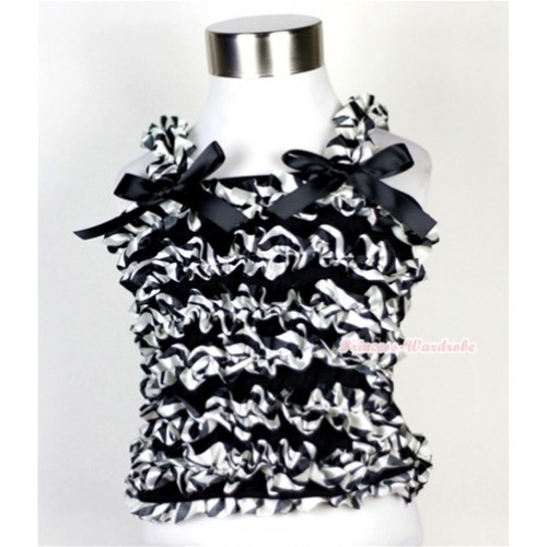 Black Zebra Ruffles Baby Tank Top with Black Bow Ribbon RT19