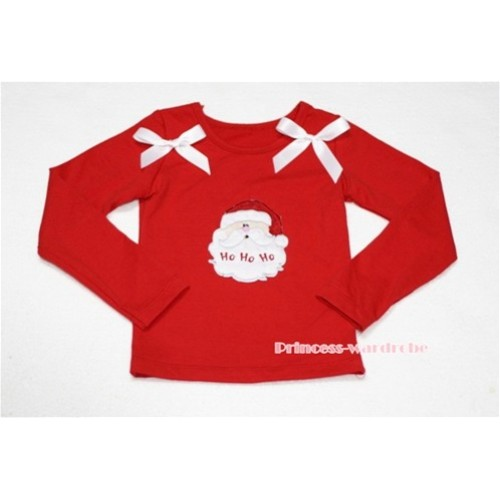 Christmas Santa Claus Red Long Sleeves Top with White Ribbon TW76