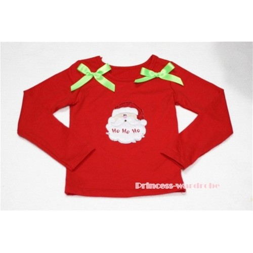 Christmas Santa Claus Red Long Sleeves Top with Light Green Ribbon TW77