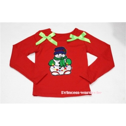 Christmas Scarf Snowman Red Long Sleeves Top with Light Green Ribbon TW83