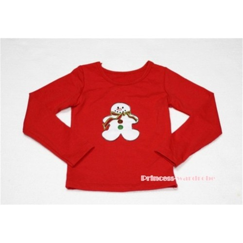 Christmas Gingerbread Snowman Red Long Sleeves Top TW84