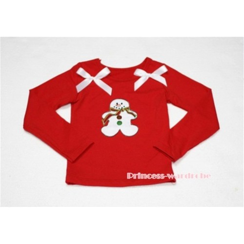 Christmas Gingerbread Snowman Red Long Sleeves Top with White Ribbon TW85