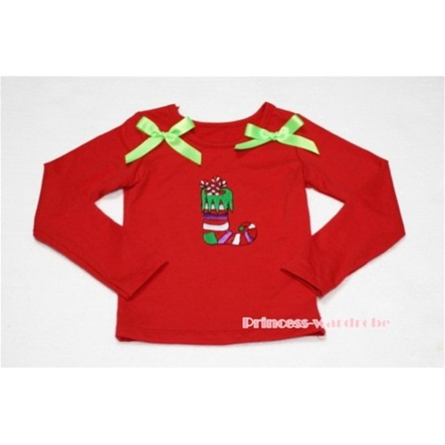 Christmas Sock Red Long Sleeves Top with Light Green Ribbon TW89