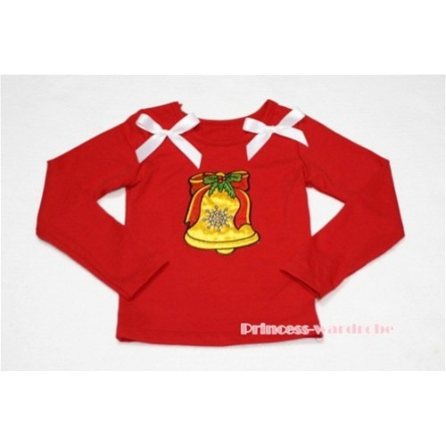 Christmas Bell Red Long Sleeves Top with White Ribbon TW91