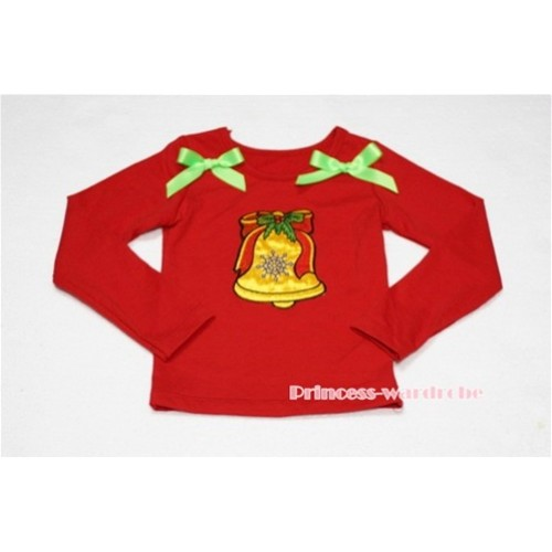 Christmas Bell Red Long Sleeves Top with Light Green Ribbon TW92