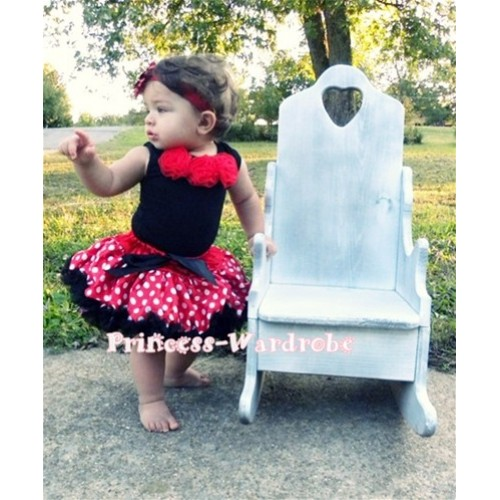 Black Newborn Pettitop & Red Rosettes with Minnie Polka Dots Newborn Pettiskirt NG141