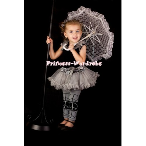 Black Newborn Pettitop & Grey Ruffles & Grey Bow with Grey Baby Pettiskirt NG193