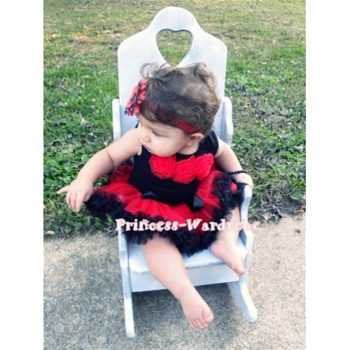 Black Newborn Pettitop & Red Rosettes with Red Black Newborn Pettiskirt NG194