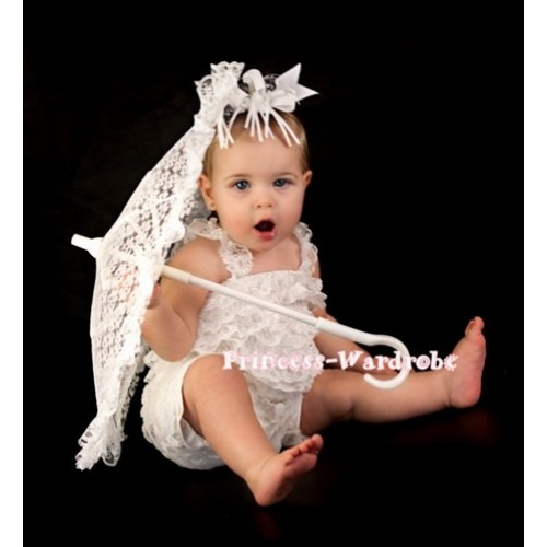 Cream White Lace Ruffles Petti Rompers with Straps LR36