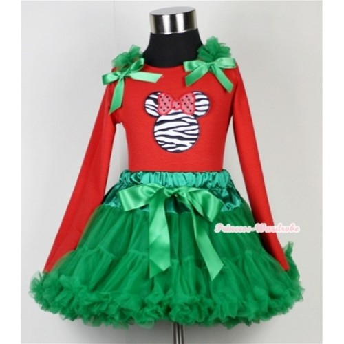 Kelly Green Pettiskirt  with Zebra Minnie Print Red Long Sleeves Top with Kelly Green Ruffles & Kelly Green Bow MB10