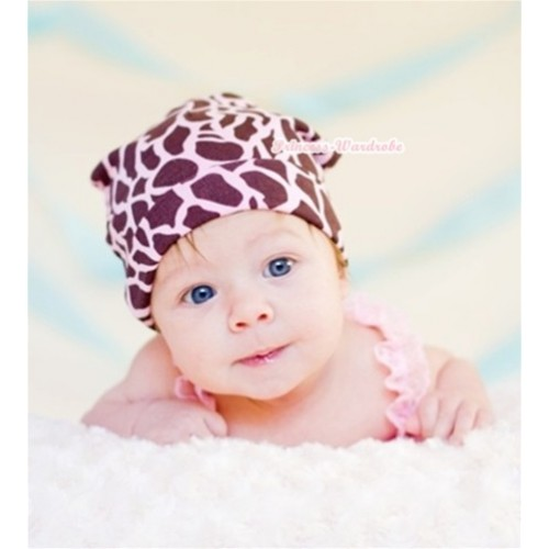 Baby Jumpsuit Cap with Light Pink Giraffe Print TH276