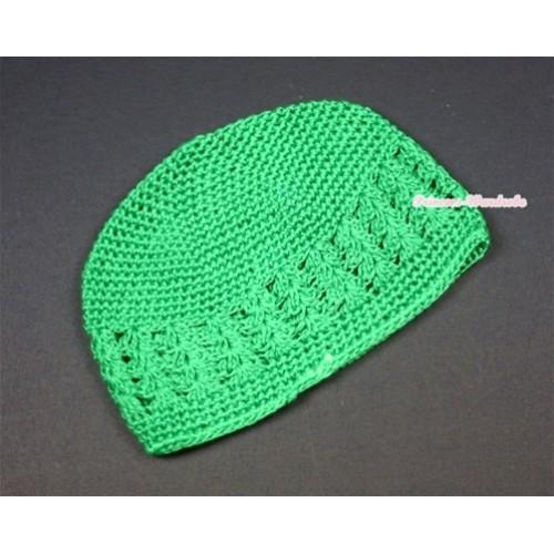 Kelly Green Crochet Beanie Hat H494
