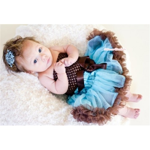 Brown Crochet Tube Top with Light Blue Brown Baby Pettiskirt CT484