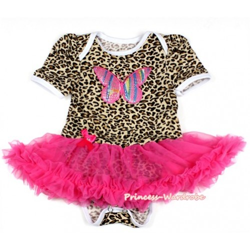 Leopard Baby Bodysuit Jumpsuit Hot Pink Pettiskirt with Rainbow Butterfly Print JS2093